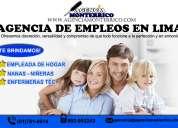 Agencia de empleadas domesticas, enfermeras técnicas y niñeras