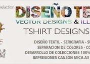 Vectores dibujos serigrafía textil 2016, contactarse