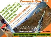 Obras de agua desagüe alcantarillado reservorios planta tratamiento de desague