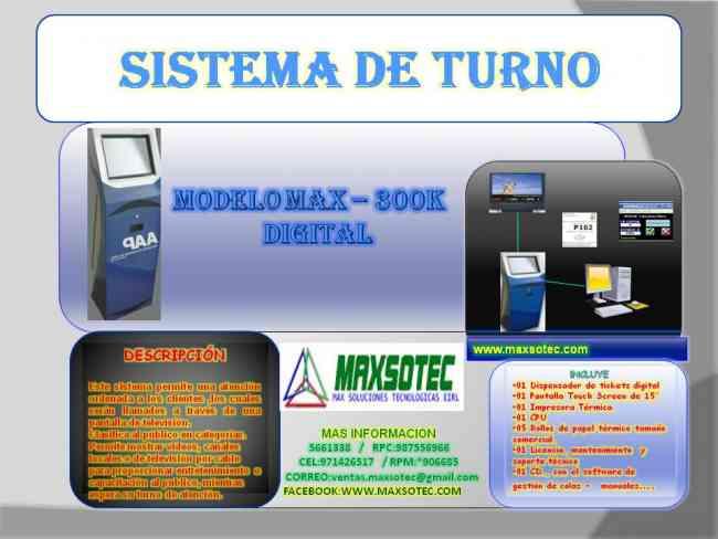 SISTEMA DE COLAS CON DISPENSADOR DIGITAL/CON SOFTWARE/MAXSOTEC EIRL/LIMA