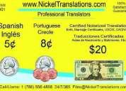Traducciones certificadas 20dlls ingles.