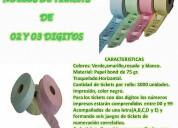 Maxsotec eirl / rollos de tickets de 2 y 3 dÍgitos/varios colores/cada rollo con 3000 unidades/lima