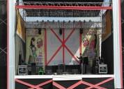Estrados - escenarios - tarimas - toldos - stands - decoración - sonido - luces - proyector - ecran