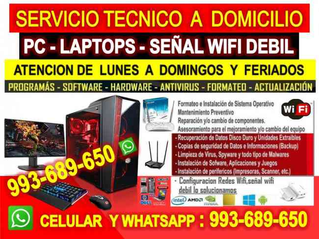 Soporte tecnico a Pc,reparaciones internet,laptops