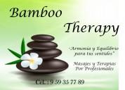 Bamboo therapy masajistas hombres a carta cabal