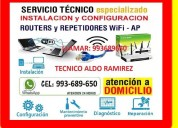 Tecnico de repetidores wifi cableados a domicilio