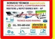 Tecnico de pc laptops repetidores wifi cableados