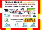 Tecnico internet repetidores pcs laptops cableados