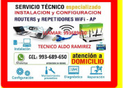 Tecnico wifi pcs laptops cableados repetidores