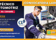 Técnico mecánico automotriz - av. canadá/lima